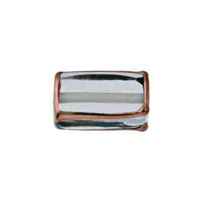 GLASS LAMP BEAD RECTANGLE 18x10x6MM CRY./BRONZE image