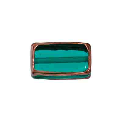 GLASS LAMP BEAD RECTANGLE 18x10x6MM EMER./BRONZE image