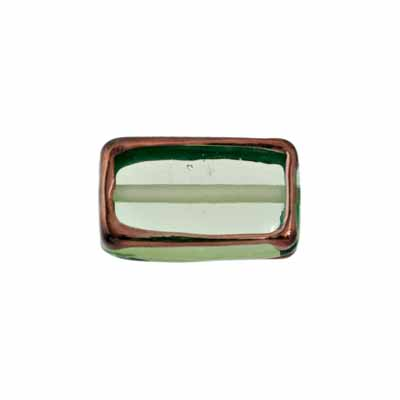 GLASS LAMP BEAD RECTANGLE 18X10X6MM JONQUI/BRONZE image