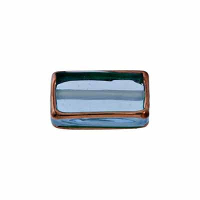 GLASS LAMP BEAD RECTANGLE 18X10X6 Sapphire/BRONZE image