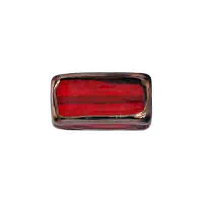 GLASS LAMP BEAD RECTANGLE 18X10X6MM S.RUBY/BRONZE image
