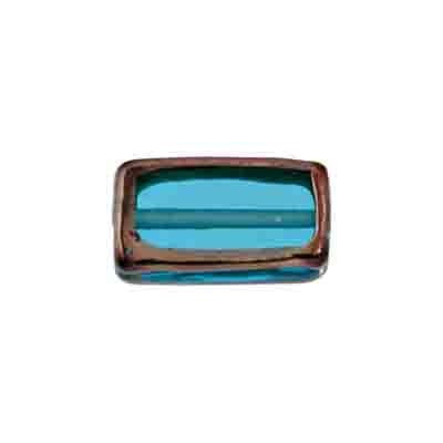 GLASS LAMP BEAD RECTANGLE 18x10x6MM AQUA/BRONZE image