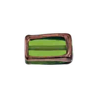 GLASS LAMP BEAD RECTANGLE 18x10x6MM OLIVINE/BRONZE image