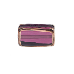 GLASS LAMP BEAD RECTANGLE 18x10x6MM AMETH./BRONZE image