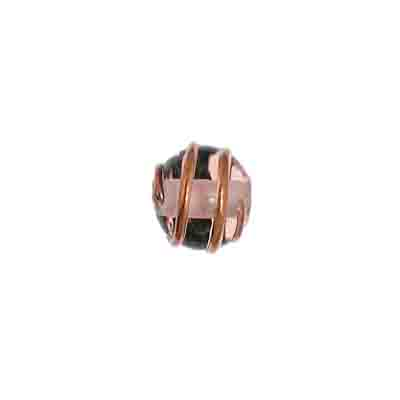 GLASS WIRED LAMP BEAD RD 8MM ROSALINE image