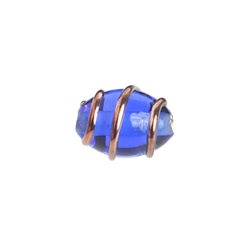 GLASS WIRED LAMP BEAD 12/8MM SAPPHIRE image