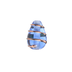 GLASS WIRED LAMP BEAD 13/9MM SAPPHIRE/GOLD image