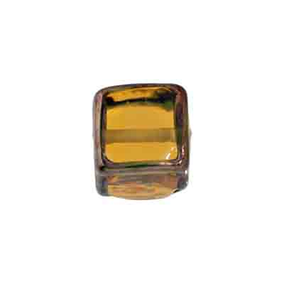 GLASS LAMP BEAD CUBES 13MM TOPAZ/BRONZE image