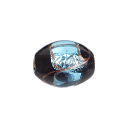 GLASS LAMP BEAD 15x13MM OVAL BLACK/AQUA/GOLD SILVER FOILED image