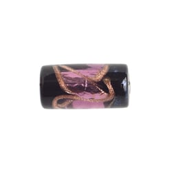 GLASS LAMP BEAD 16x8MM TUBE BLACK/AMETH/GOLD SILVER FOILED image