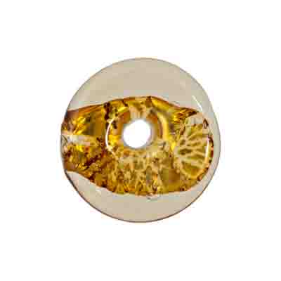 GLASS LAMP BEAD 20x20MM RING GOLD image