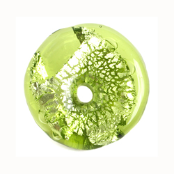 GLASS LAMP BEAD 26x26MM RING OLIVINE/SILVER FOIL image