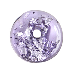 GLASS LAMP BEAD 26x26MM RING AMETHYST/SILVER FOIL image