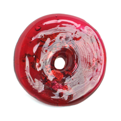 GLASS LAMP BEAD 26x26MM RING RUBY/SILVER FOIL image