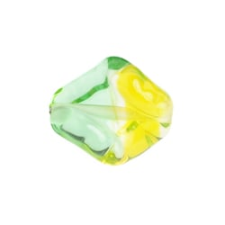 GLASS LAMP BEAD 16x14mm GREEN/ YELLOW TWISTER image