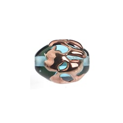 GLASS LAMP BEAD 14x10mm OVAL AQUA/COPPER image
