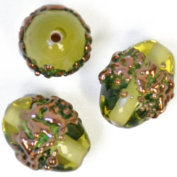 GLASS LAMP BEAD 14x10mm OVAL OLIVE GREEN/COPPER image