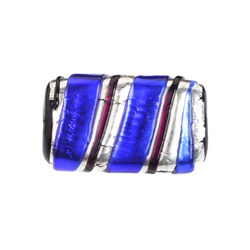 GLASS LAMP BEAD 22x14mm RECTANGLE COBALT BLUE/SILVER image