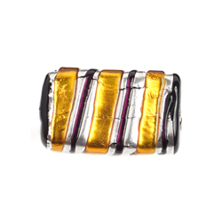 GLASS LAMP BEAD 22x14mm RECTANGLE YELLOW/SILVER image