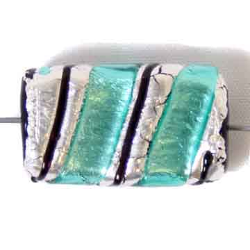 GLASS LAMP BEAD 22x14mm RECTANGLE GREEN/SILVER image