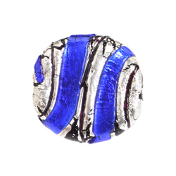GLASS LAMP BEAD 22mm RD. DISC COBALT BLUE/SILVER image