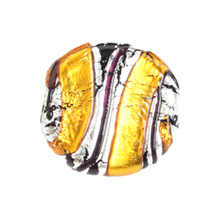 GLASS LAMP BEAD 22mm RD. DISC YELLOW/SILVER image
