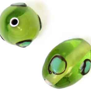 GLASS LAMP BEAD 14x10mm OVAL GREEN image