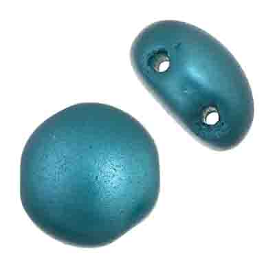 Czech Candy Beads 12mm 2 holes Teal Blue Pearl Pastel image