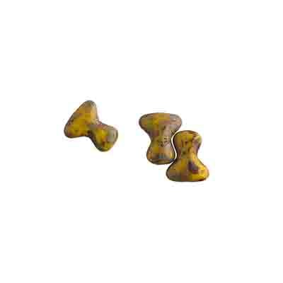 Czech Preciosa Tee Bead 2x8mm Yellow/Travertine image