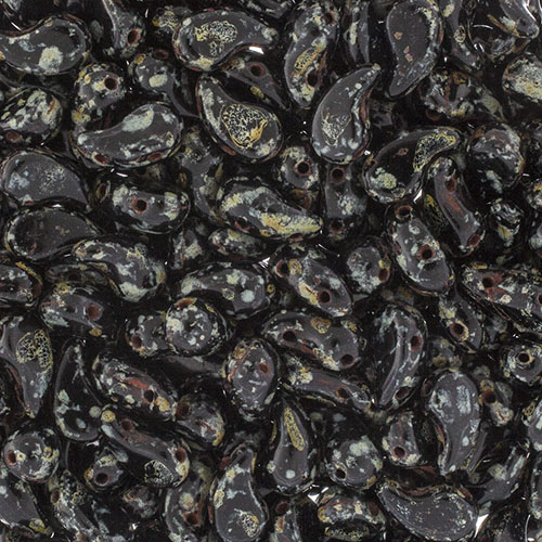Czech Bead ZoliDuo Right 6.5g/40pcs 2Holes Black/Travertine image