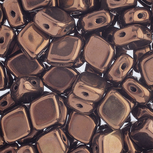 Czech Bead Rhombus 2Hole 10x8mm Black/Bronze image