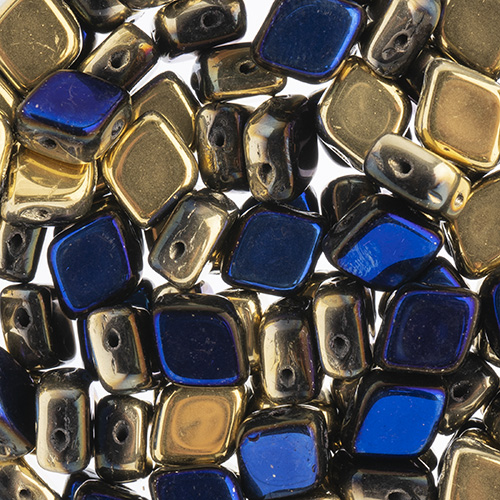 Czech Bead Rhombus 2Hole 10x8mm Black/ California Blue image