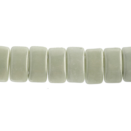 Czech Glass Bead Carrier 9x17mm Chalk White/ Green Luster Fullcoat image