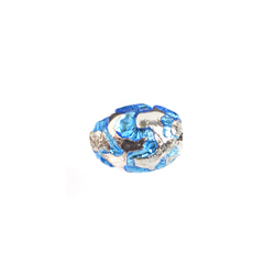 GLASS LAMP BEAD OVAL 11X8MM CRYSTAL/BLUE image