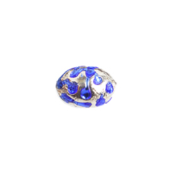 GLASS LAMP BEAD OVAL 11X8MM CRYSTAL/SAPPHIRE image