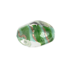 GLASS LAMP BEAD 18x13mm OVAL GREEN/GOLD image