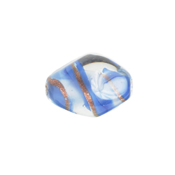 GLASS LAMP BEAD 18x13mm OVAL BLUE/GOLD image