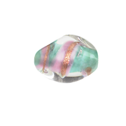 GLASS LAMP BEAD 18x13mm OVAL LT.GREEN/GOLD image