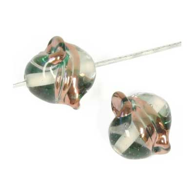 GLASS LAMP BEAD 15x14mm TWISTER CRYSTAL/BRONZE image