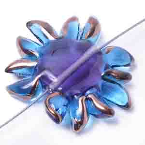 GLASS LAMP BEAD 27/33mm FLOWER AQUA/LILAC CENTRE/BRONZE image