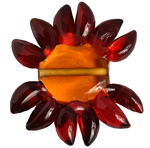 GLASS LAMP BEAD 27/33mm FLOWER RED/ORANGE CENTRE/BRONZE image