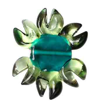 GLASS LAMP BEAD 27/33mm FLOWER PERIDOT/EMERALD CENTRE/BRONZE image
