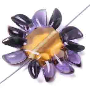 GLASS LAMP BEAD 27/33mm FLOWER AMETH/LT.TOPAZ CENTRE/BRONZE image