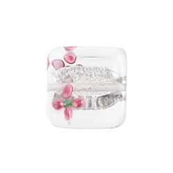 GLASS LAMP BEAD 15x15MM CRYSTAL/SILVER W/2 PINK FLOWER image