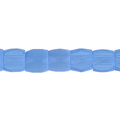 GLASS ATLAS BEADS 6x6mm BLUE SATIN - STRUNG image