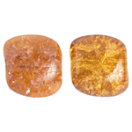 GLASS BEAD CRACKED 13x15mm STR FLAT NUGGET TWO-TONE BROWN/TOP image