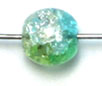 GLASS BEAD CRACKED 6MM 3-TONE CRY/GREEN/YELLOW STRUNG image