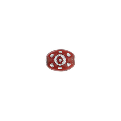 GLASS BEAD 9x7mm RED ALABAST.- SIL.PAINT.ROSE.BEADS image