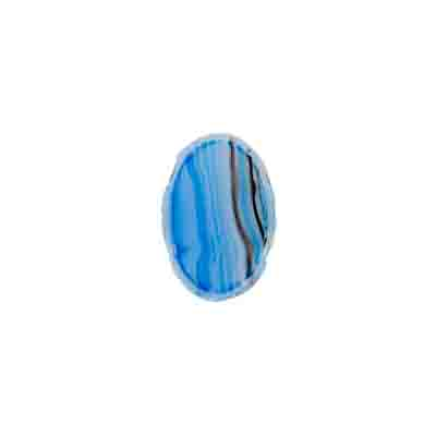 GLASS 2 HOLE OVAL BEAD 9X13mm LT.BLUE/BROWN STRIPED STRUNG image