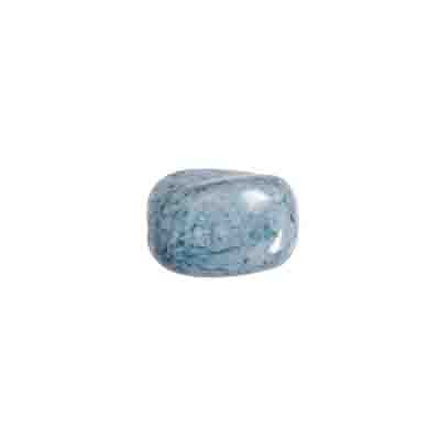 GLASS BEAD TWIST RECT. 12x10mm LT.BLUE MARBLE STRUNG image